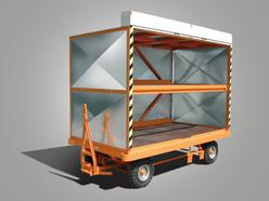 Plattformanhänger mit Aufbau und Rolläden und Zweirad-Achsschenkellenkung