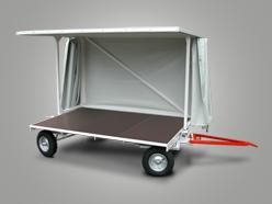 Plattformanhänger mit Wetterschutzdach und Doppel-Drehschemellenkung