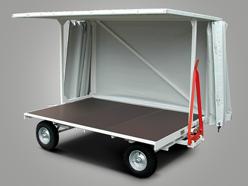 Plattformanhänger mit Wetterschutzdache und Doppel-Drehschemellenkung