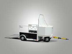 Sonderkonstruktion mit Sicherungskasten und Auffahrrampe und Drehschemellenkung
