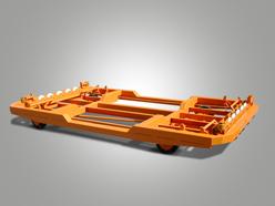 Sonderkonstruktion mit Rollenbahnaufbau und Vierrad-Achsschenkellenkung