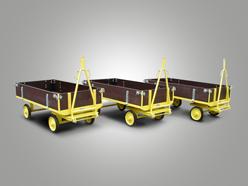 Plattformanhänger mit klappbaren Kastenaufbau und Drehschemellenkung